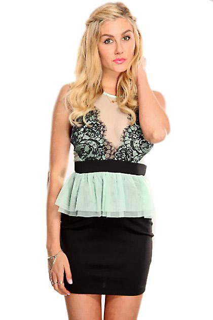 Waooh - Fashion - Short dress neckline and lace