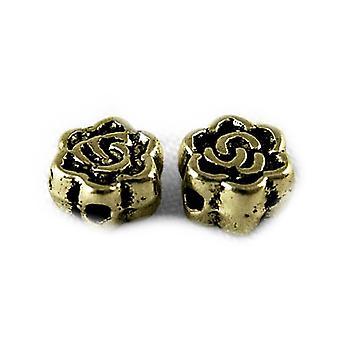 Pakke 30 x antikk bronse tibetanske 3 x 5mm blomst Spacer perler HA17540