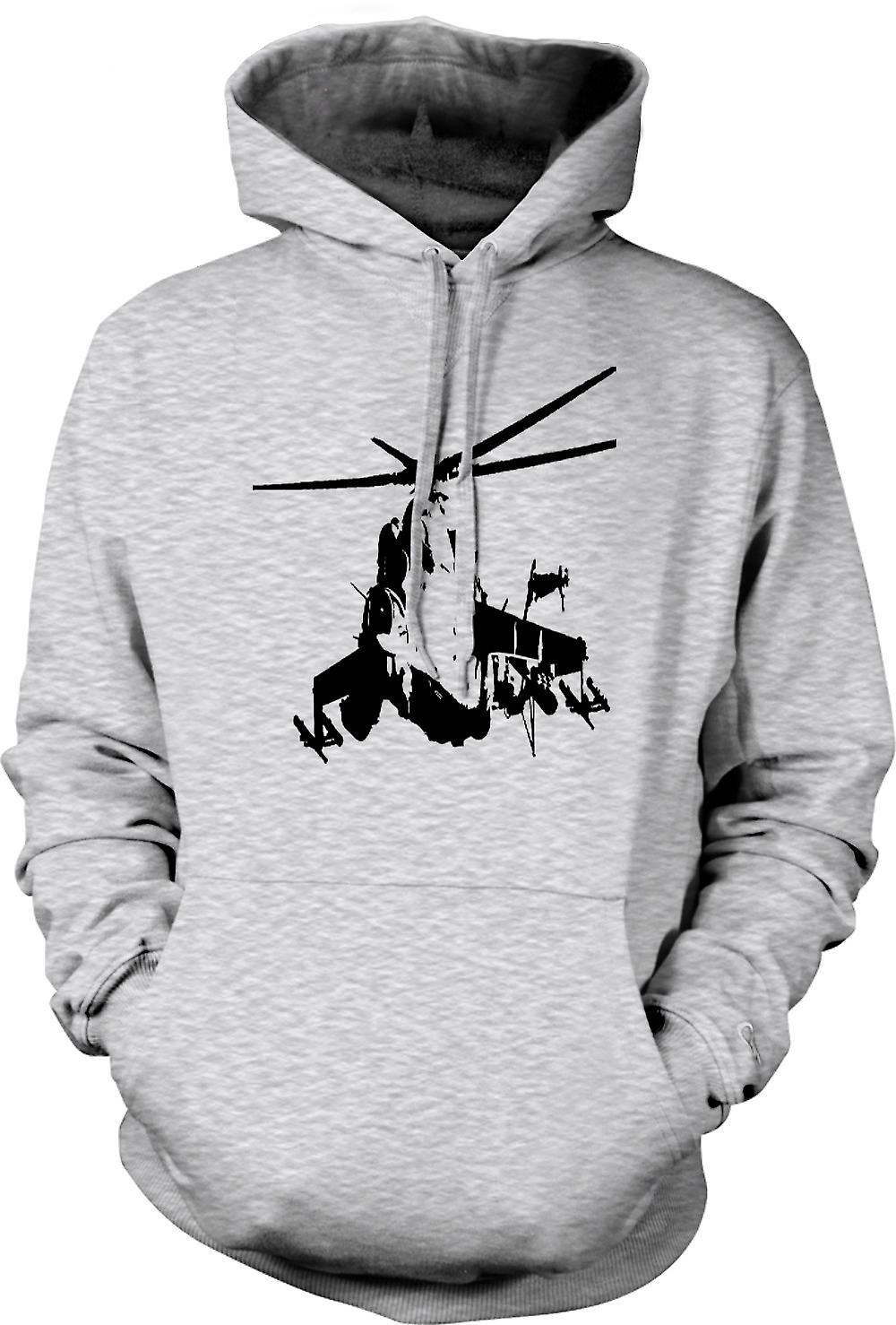 Mens Hoodie - MI-24 HIND Attack Helicopter