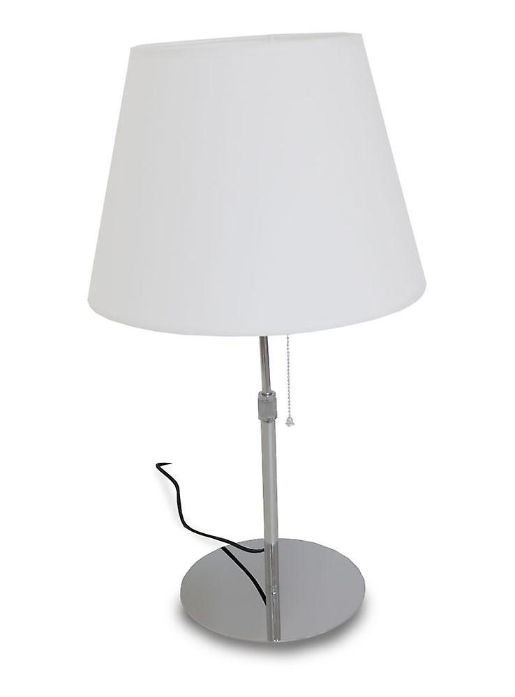 Kiom Tischleuchte Arved T chrom Textil Lampenschirm weiß höhenverstellbar 60cm 10837