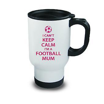Pink I Can't Keep Calm I'm a Football Mum Metal Travel Mug