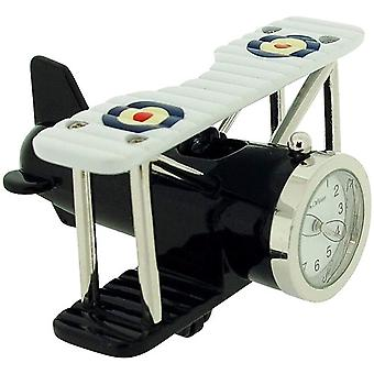 Miniature Silvertone Metal Bi-Plane Design Novelty Collectors Clock 9973