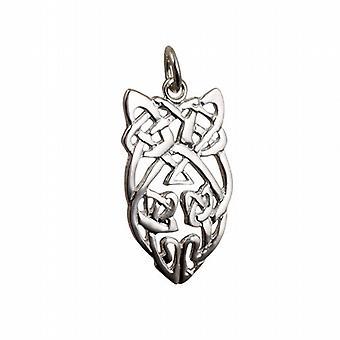 Argento 26x16mm Celtic knot pendente