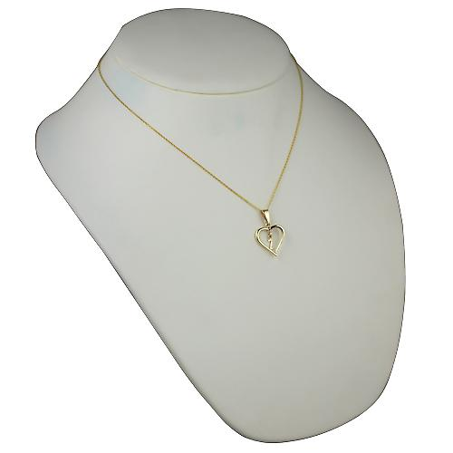 9ct Gold 18x18mm initial Z in a heart Pendant with a cable Chain 18 inches