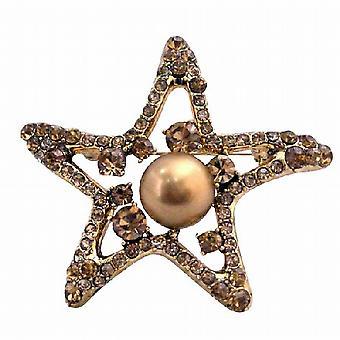 Smoked Topaz Golden StarFish 12mm Copper Pearls Vintage Brooch