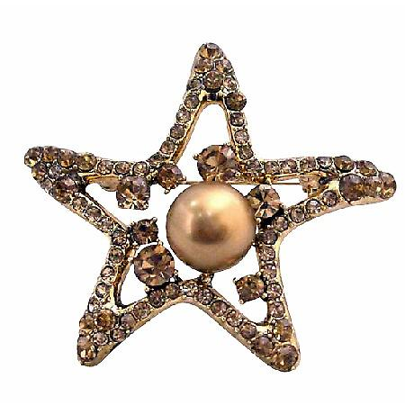 Smoked Topaz Golden StarFish 12mm Copper Pearls Vintage Brooch
