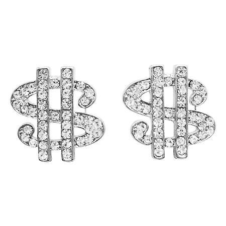 Hip Hop Shimmering Dollar Earrings In Simulated Silver w/ CZ Earrings