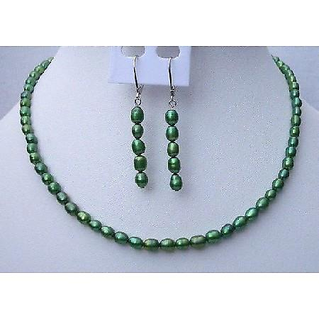Rice Freshwater Pearl Jewelry Metallic Green Color Handmade Necklace & Fish Wire Earrings