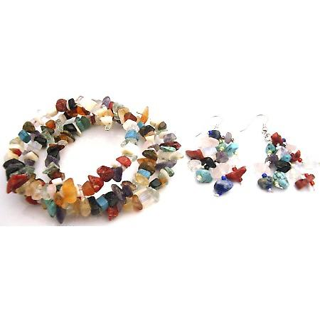 Mixed Gemstone Nugget Wrap Bracelet w/ Nickle Free Earrings Set