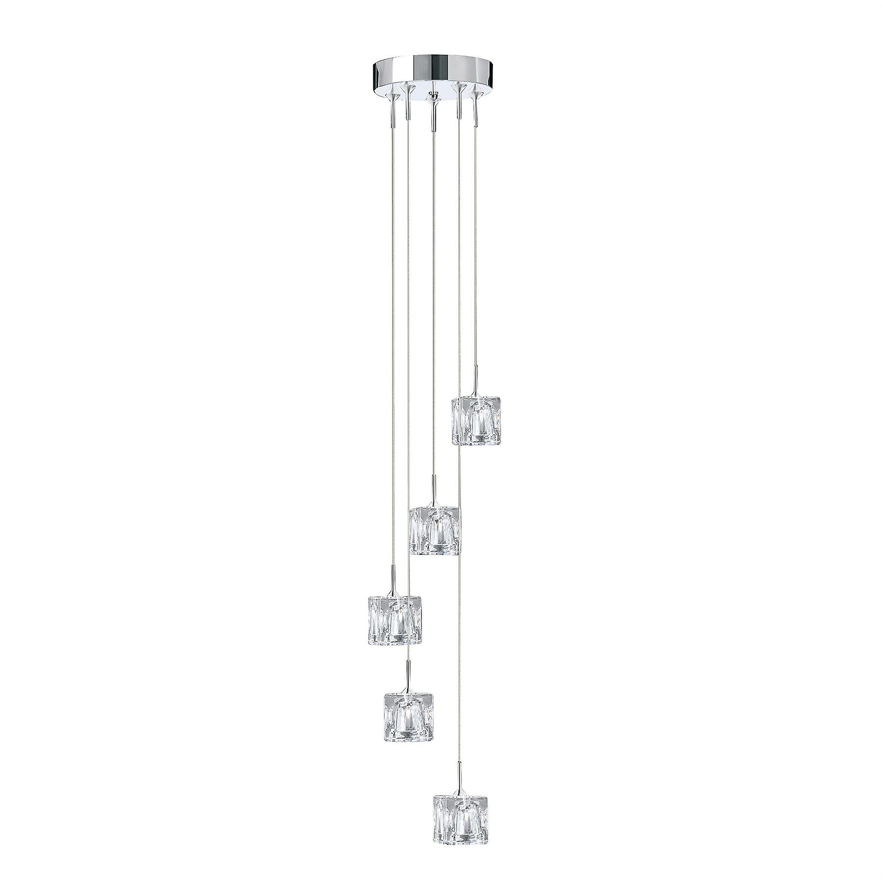 Ice Cube Chrome And Glass LED Five Light Pendant - Searchlight 6775-5-LED