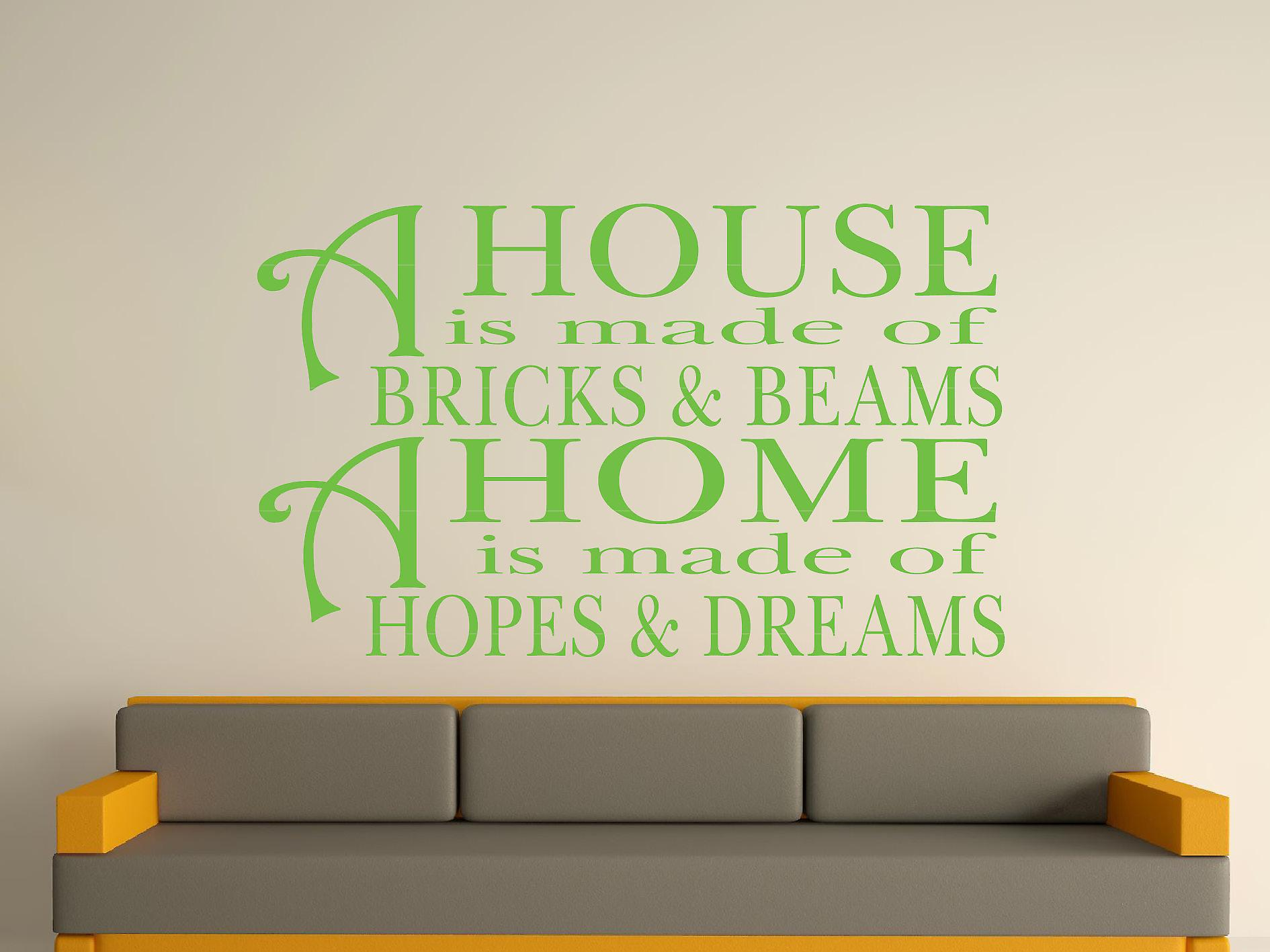 A House Is Made Of Bricks And Beams v2 Wall Art Sticker - Apple Green