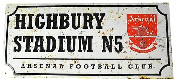 Arsenal FC Highbury Stadium retro look metal street sign (bb)