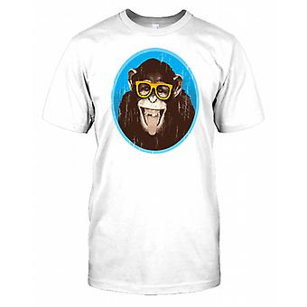 Monkey With Glasses And Smiling - Funny Mens T Shirt