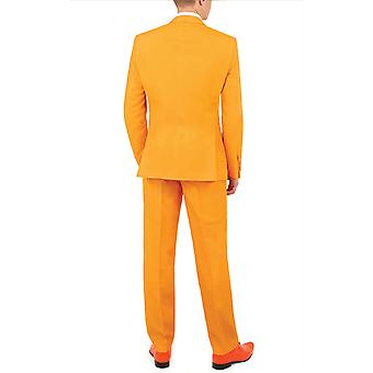 d/Spoke Mens Orange 2 Piece Suit Regular Fit Notch Lapel Novelty Partywear