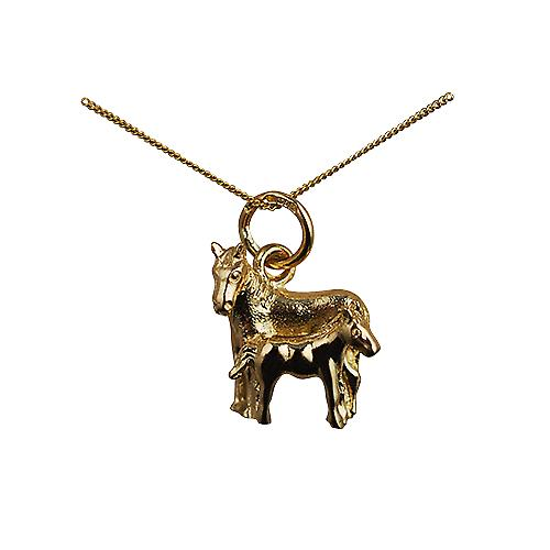 9ct Gold 13x13mm Horse and Foal Pendant with a Curb Chain 16 inches Only Suitable for Children