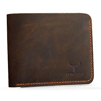 Brown horizontal real leather slim hand stitched wallet