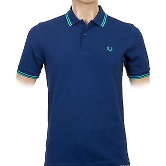 Fred Perry menns Twin tippet Slim Fit kort Sleeved Polo skjorte M3600-436