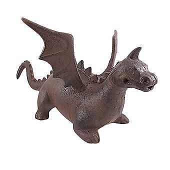 Cast Iron Dragon Statue Door Stop Antiqued Finish