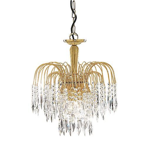 Searchlight 5173-3 Waterfall 3 Light 60W 38Cm Crystal Pendant Gold Plated