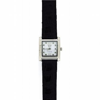 Genuine Diamond Gianni Vecci Ladies Black Leather Strap Dress Watch GOTW88