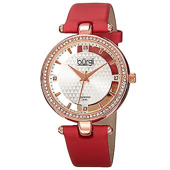 New Women's Burgi BUR104RD Rose-tone Swiss Quartz Diamond Red Satin Strap Watch