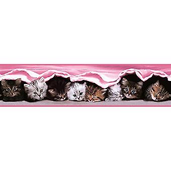 Piger Childrens pink killing kat tapet grænse sød børnehave baby Holden decor