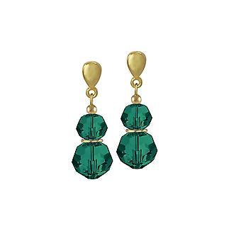 Eternal Collection Echo Emerald Green Austrian Crystal Gold Tone Drop Clip On Earrings