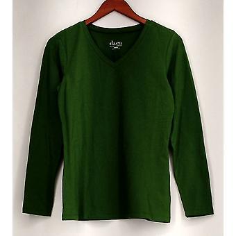Denim & Co. Top XXS Essentials Perfect Jersey Long Sleeve V Neck T Green A259203