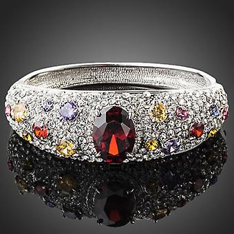 Christmas Gift - Platinum Plated White Cuff Bracelet, multi-colour stones, 6 cm diameter