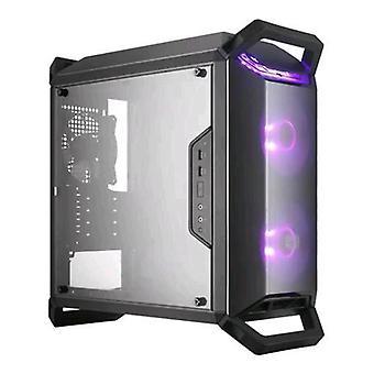 Cooler masterbox q300p caso midi-torre 2 ventiladores frontales 120mm instalado rgb iluminación panel transparente color negro