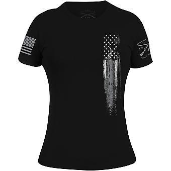 Grunt Style Women's Silver Line Flag T-Shirt - Black