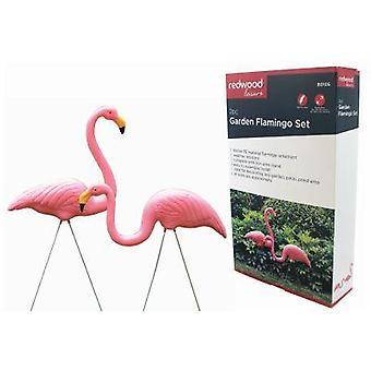 2pc Plastic Lawn Flamingo Garden Pond Ornament Pink Decoration Stand
