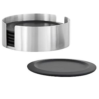 Coaster set stainless steel matt, 6 coasters silicone