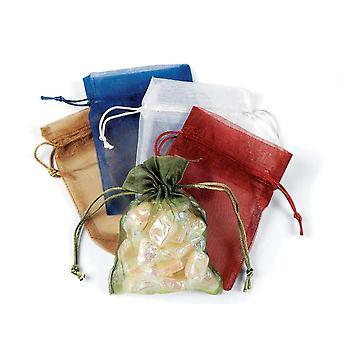 12 verschiedene mittlere Kordel Organza Gunst Geschenktüten
