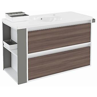 Bath+ Cabinet 2 drawers with porcelain sink Fresno-White-Grey 100cm