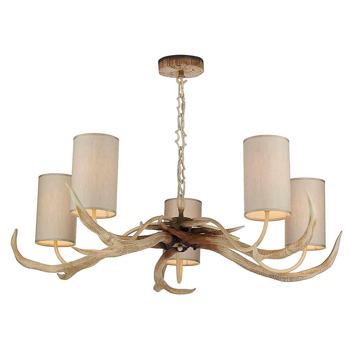 David Hunt ANT0549 Antler 5 Light Bleached Pendant - Shades Included