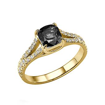 14K Yellow Gold 1.20 CTW Black Diamond Ring with Diamonds Split Shank Cushion