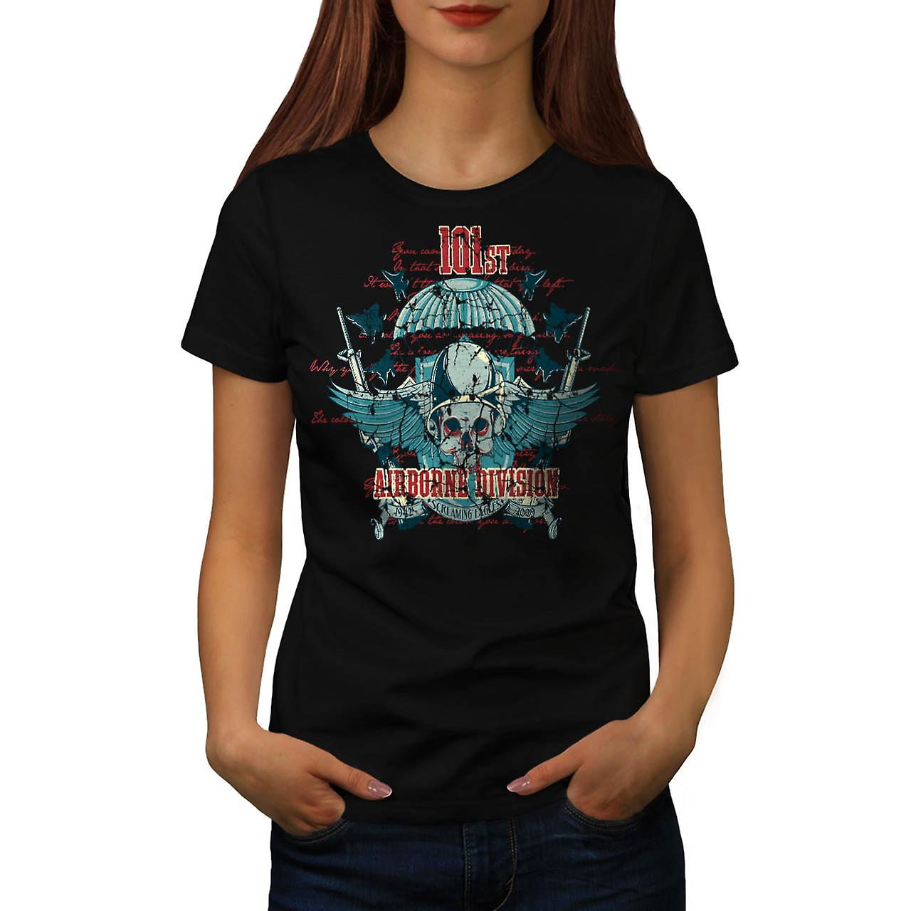 Airborne Division Fly War Flight Women Black T-shirt | Wellcoda