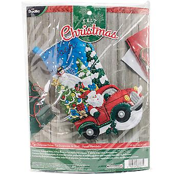 The Christmas Drive Stocking Felt Applique Kit-18