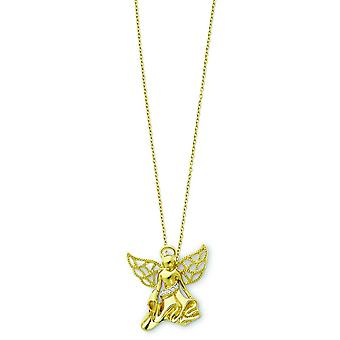Sterling Silver Gold-plated Cubic Zirconia Angel Necklace - 18 Inch