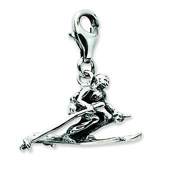 Sterling Silver 3-d Antiqued Skier With Lobster Clasp Charm - 2.2 Grams - Measures 23x8mm
