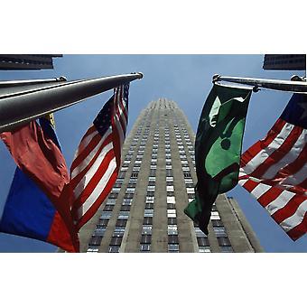 Rockefeller Centre Rca byggnad och flaggor PosterPrint