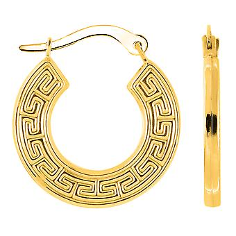 10k Yellow Gold Griekse belangrijke patroon ronde Hoop Earrings, Diameter 18mm