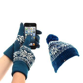 KITSOUND Beanie and Mitten Kit Headphone Beanie Fair Isle Blue