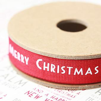 East of India Merry Christmas Ribbon 3m Red & White Snowflake