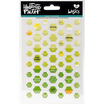 Illustré de foi Basics Mini Hexies époxy autocollants-Olive vous IBMEP-1523