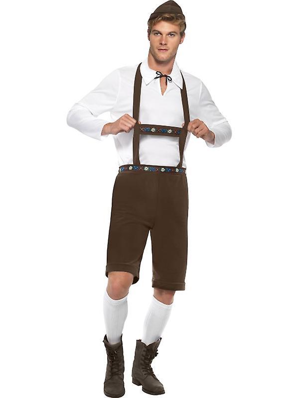 Bayerske kostumer mænds kostume lederhosen optik