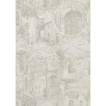 Graphic wallpaper Atlas SIG-579-1 non-woven wallpaper structured in the used look shimmering grey light grey cream white silver 5.33 m2