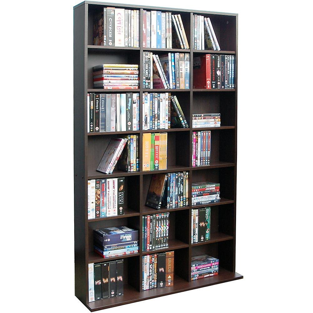 Pigeon Hole - 588 Cd / 378 Dvd Blu-ray Media Storage Shelf Unit - Dark Oak
