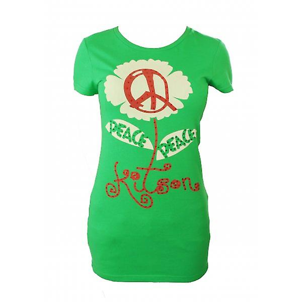 W.A.T Kitson LA Green Peace Sign Long Crystal T Shirt
